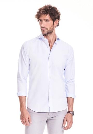 Camisa slim lisa con flame colores