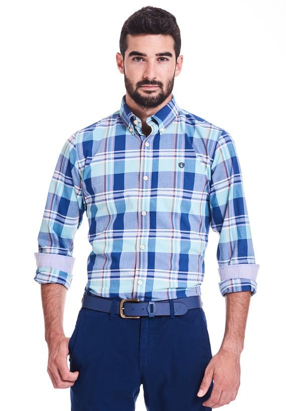 Camisa regular cuadros grandes - Aguamarina