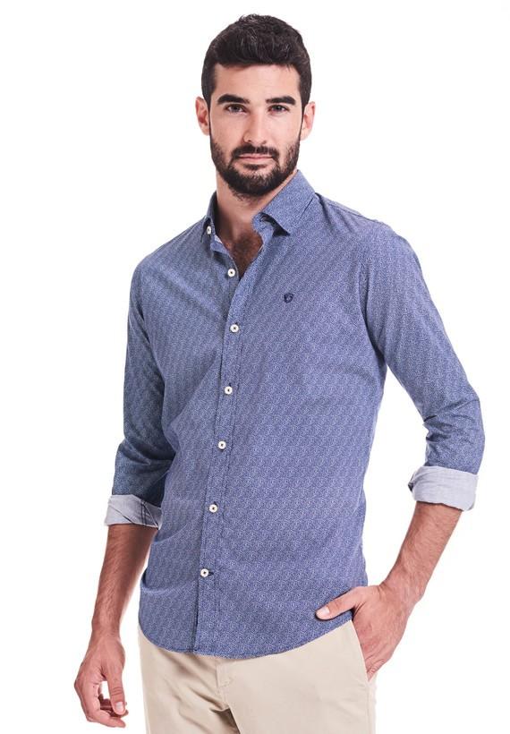 Camisa print fantasía slim - Azul