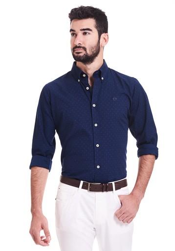 Camisa topos bicolor slim