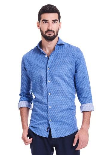 Camisa lino estampado regular