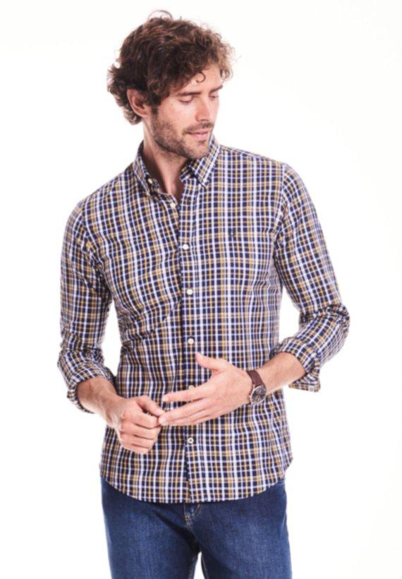 Camisa slim fit de cuadros - Marino