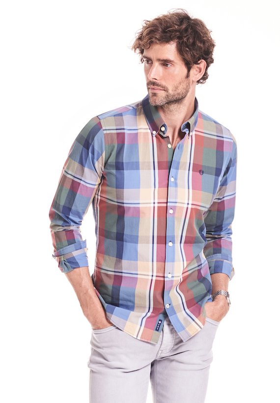 Camisa slim cuadros grandes - Blue
