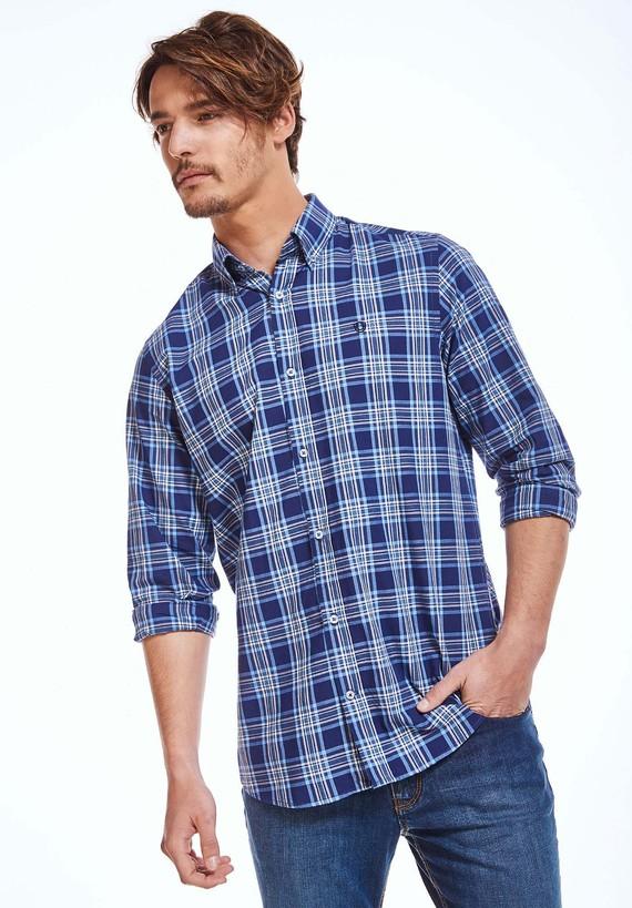 Camisa cuadros sport regular. - Azul