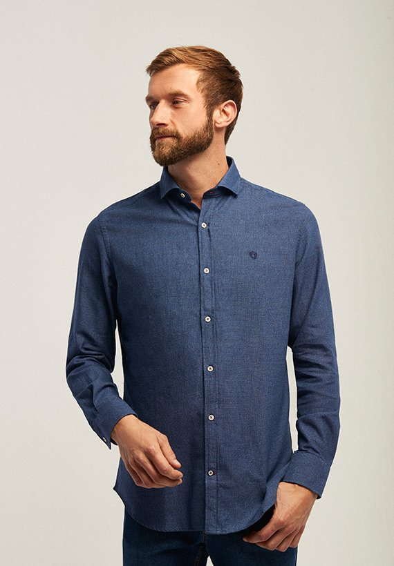 Camisa slim fit  falso denim
