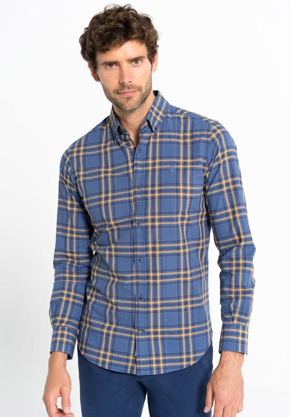 Camisa cuadros bicolor slim