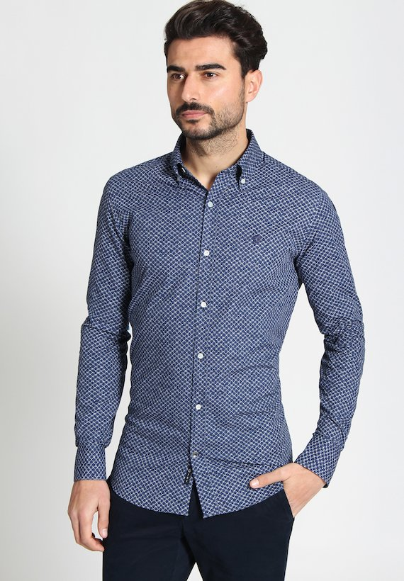 Camisa regular de fantasía - Azul