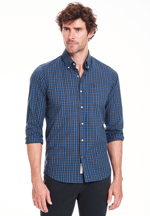 Camisa regular fit de cuadros azules y verdes