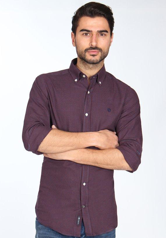 Camisa slim fit de vichy bicolor - Burdeos