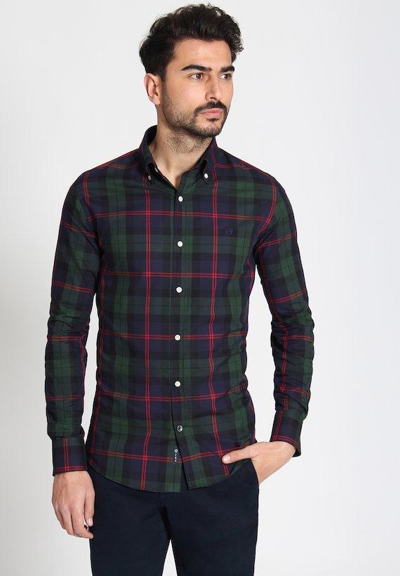 Camisa regular de cuadros grandes - Green