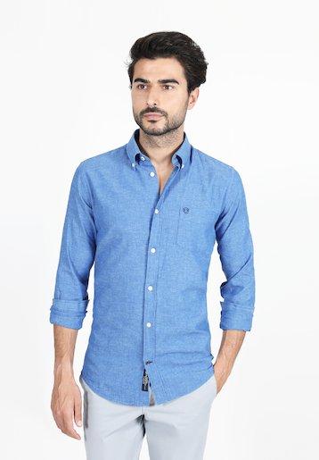 Camisa regular lisa de algodón/lino