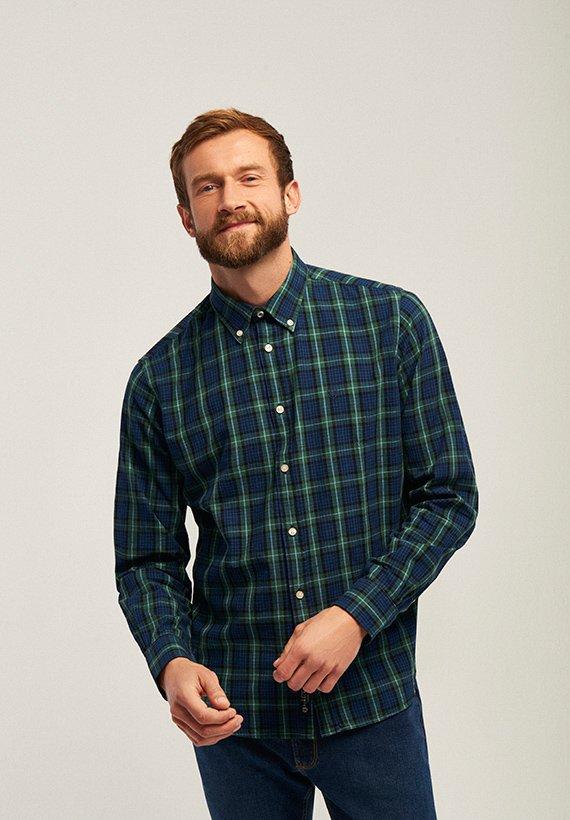 Camisa slim fit cuadros en marino y verde