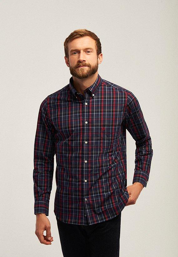 Camisa regular fit de cuadros marino