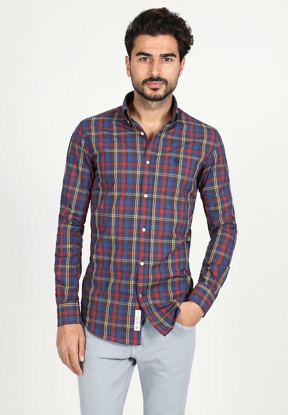 Camisa slim de cuadros - marinho