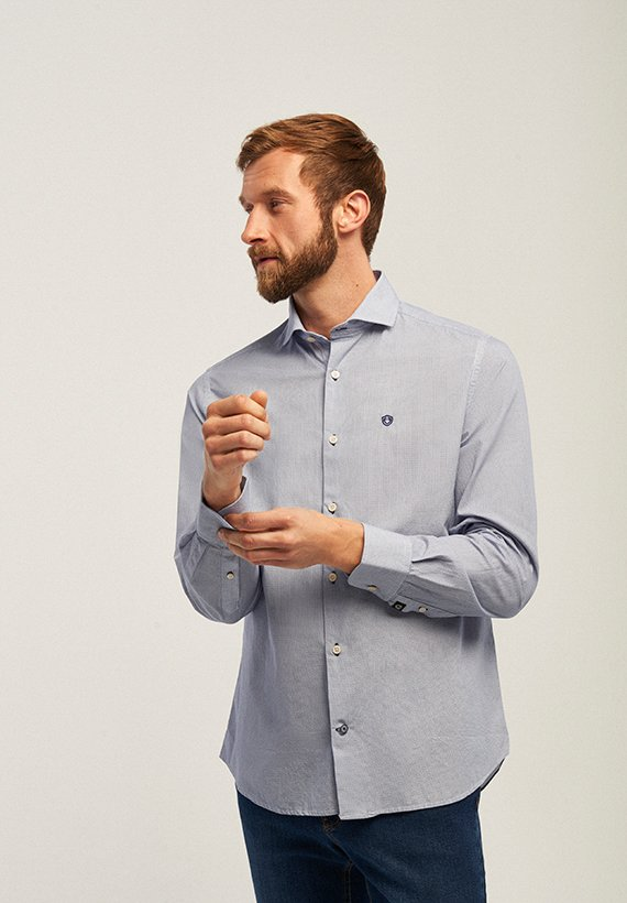 Camisa regular fit estamapdo marino - Marino