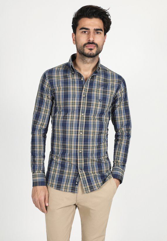 Camisa regular de cuadros - Verde