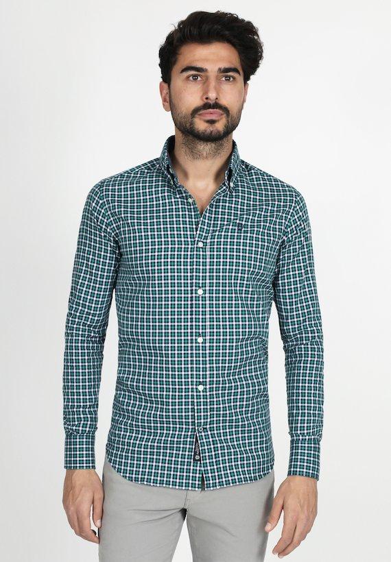 Camisa slim fit de cuadros oxford con contraste