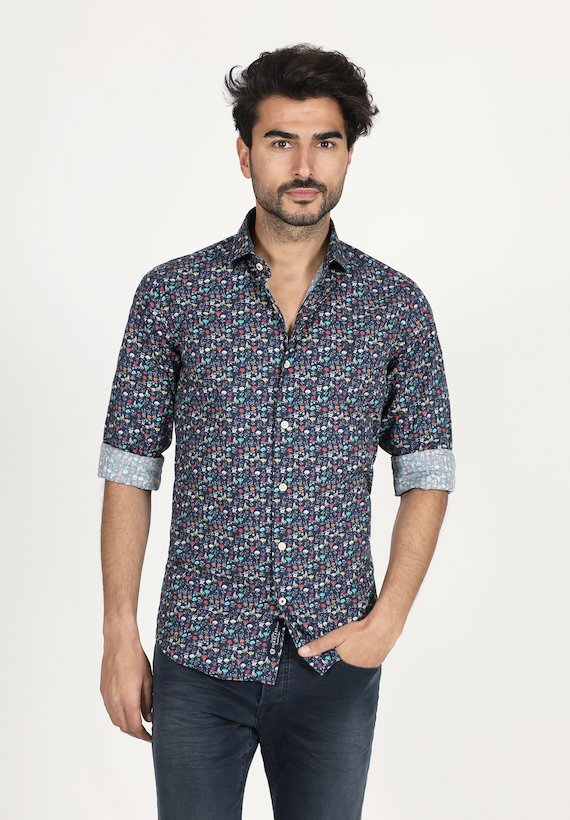 Camisa slim fit de flores multicolor - Azul