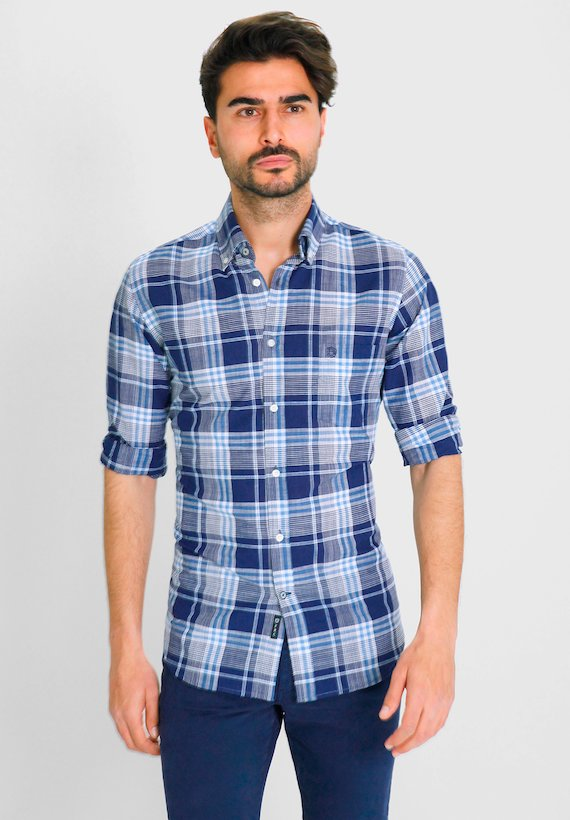 Camisa regular fit de cuadros - Marino