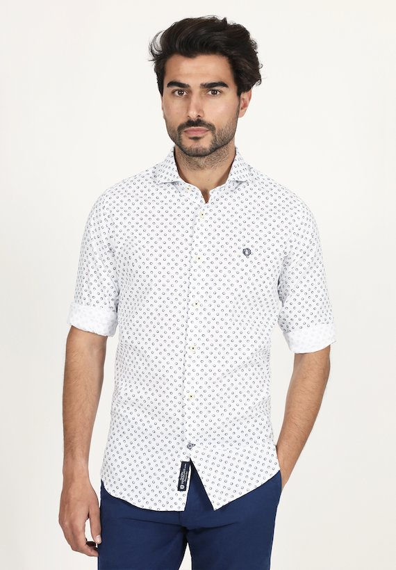 Camisa slim fit estampado geométrico de flores