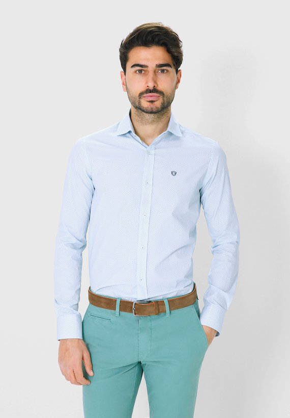 Camisa regular fit con estampado de flores - Verde