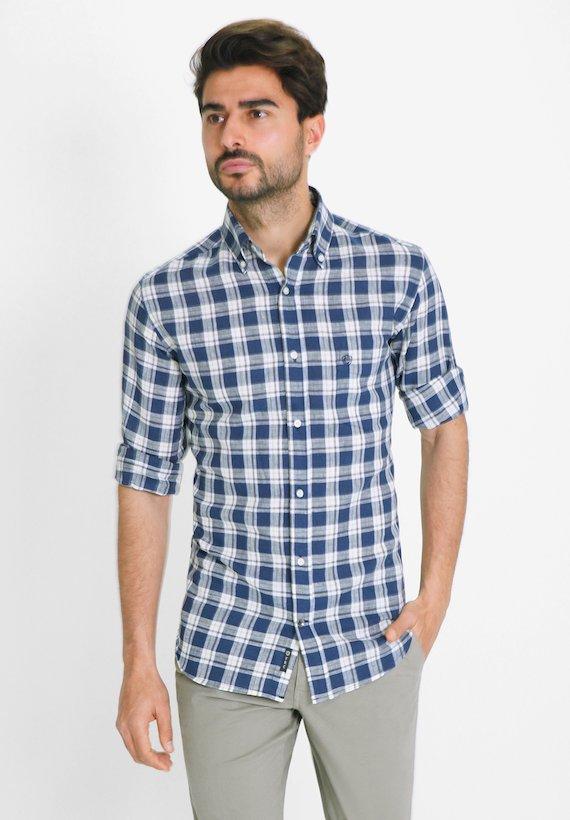 Camisa regular fit de cuadros en algodón lino - Marino