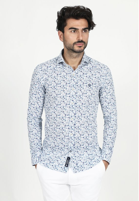 Camisa slim fit de flores - Azul