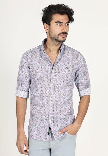 Camisa slim fit con estampado de abanicos