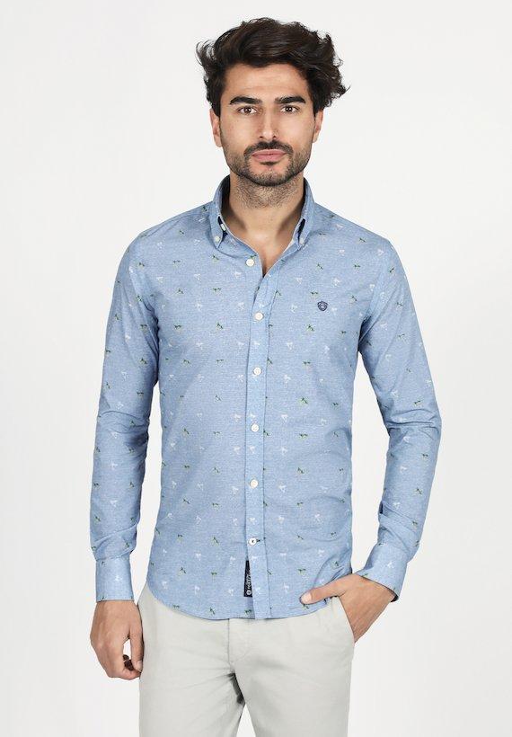 Camisa slim fit con estampado de palmeras - Azul