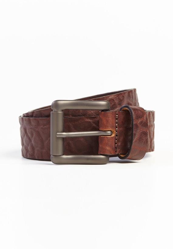 Cinturón piel efecto cuarteado grueso - Marron
