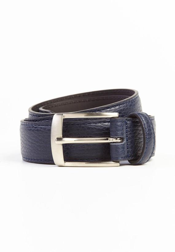 Cinturón piel hebilla brillante - Azul