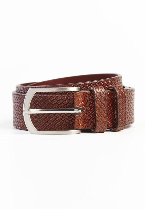 Cinturón piel con dibujo trenzado. - Cuero