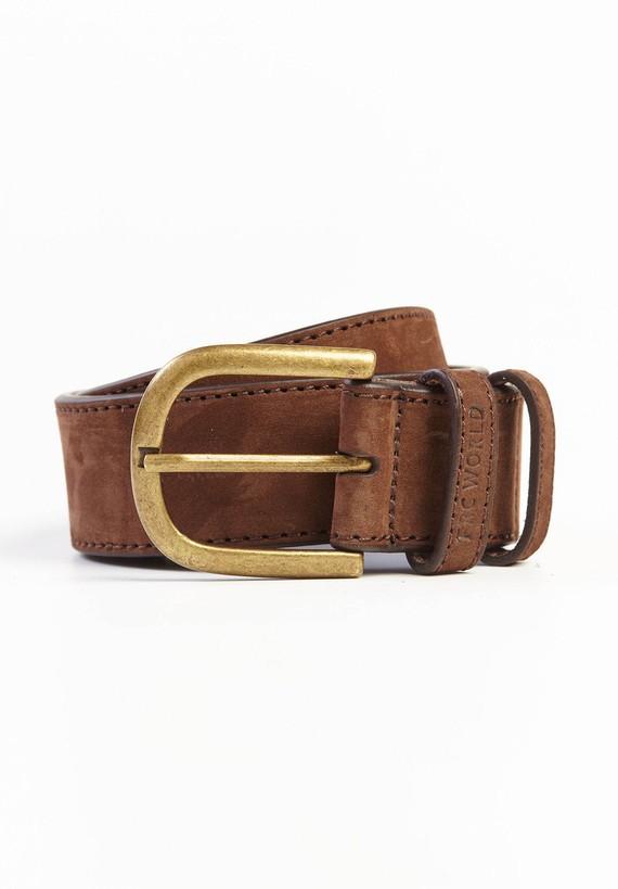 Cinturón en nobuck hebilla oro envejecido - Marron