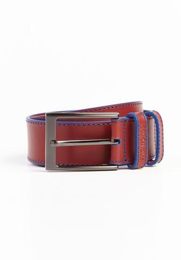 Cinturón piel granate y pespuntes en azul