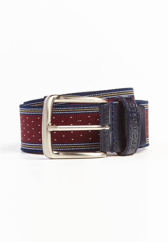 Cinturón con dibujo de puntadas y rayas. - Granate