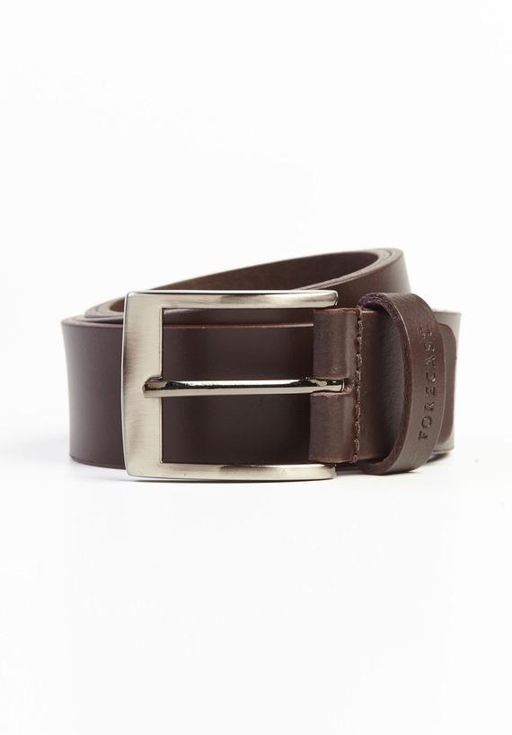 Cinturón básico piel con hebilla cuadrada - Marron