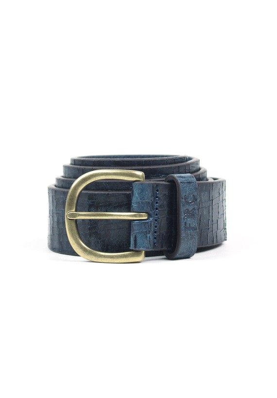 Cinturón de piel con aspecto desgastado - Verde