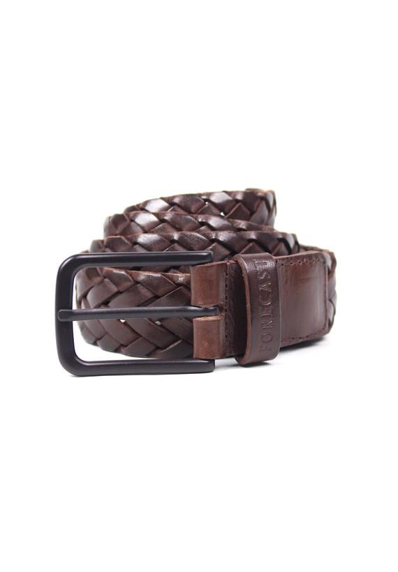 Cinturón piel marrón trenzado - Castanho