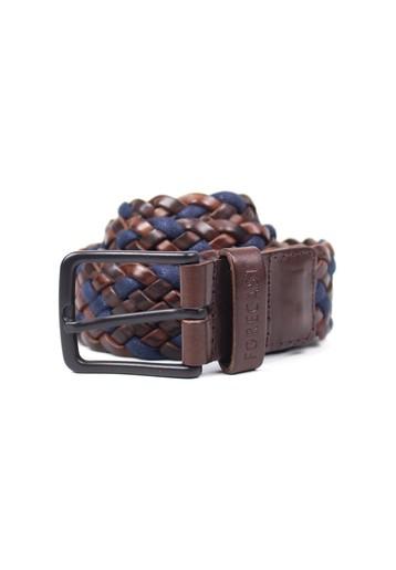 Cinturón piel marrón y marino trenzado