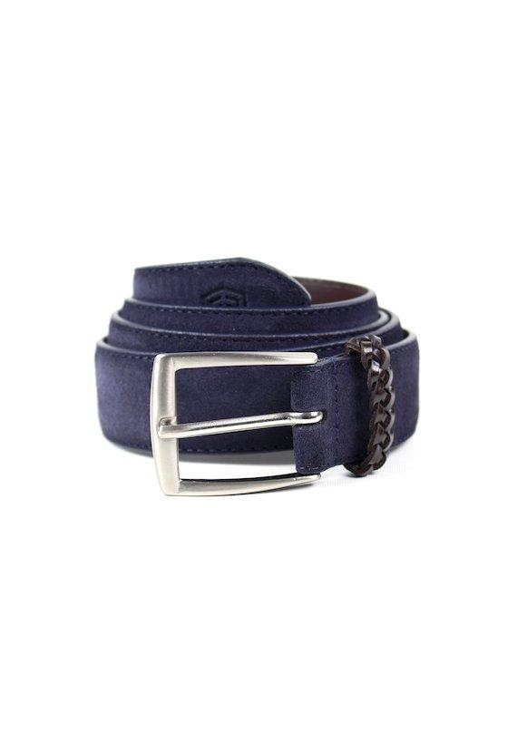 Cinturón piel de serraje - marinho