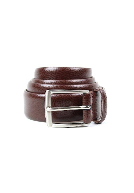 Cinturón de vestir efecto cuarteado - Castanho