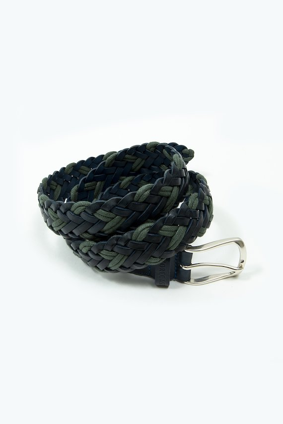 Cinturón con trenza de espiga combinada - Marino