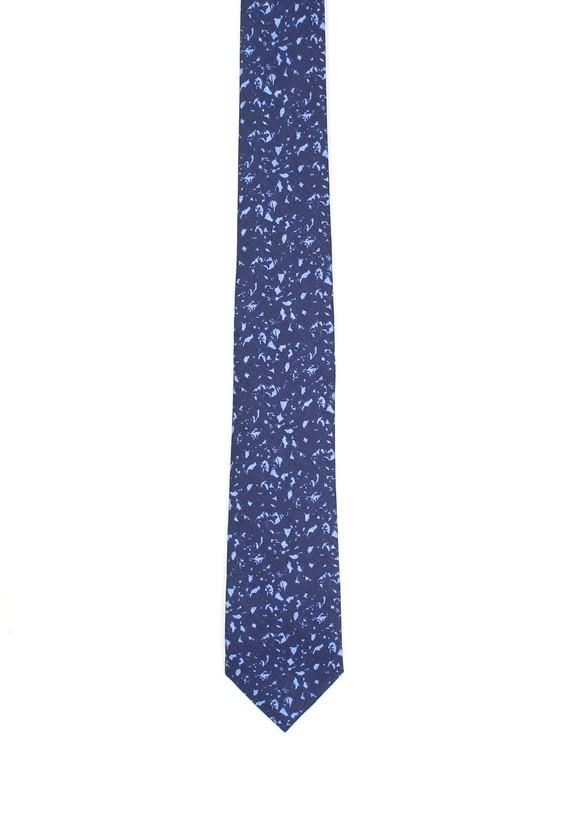 Corbata de lino fantasía - marinho