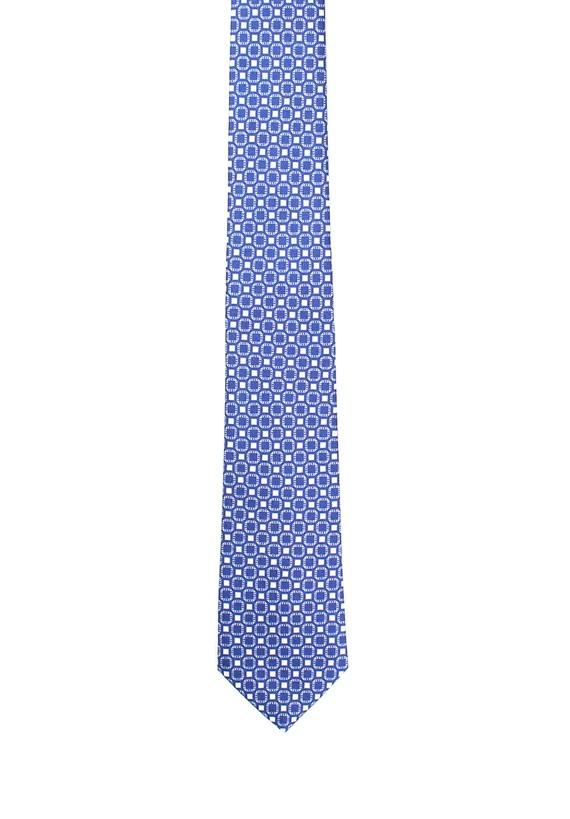 Corbata de seda azul estampado cuadros - Marino