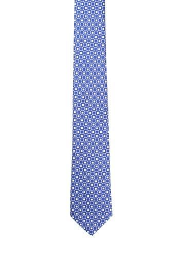 Corbata de seda azul estampado cuadros