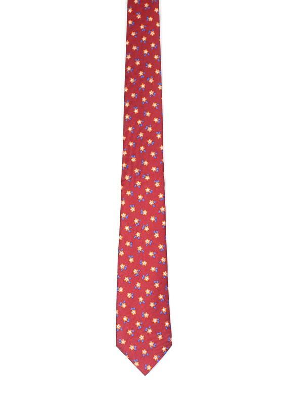 Corbata de seda roja con pequeñas flores - Burdeos