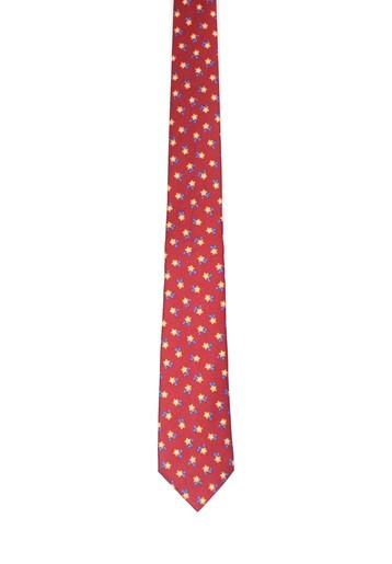 Corbata de seda roja con pequeñas flores