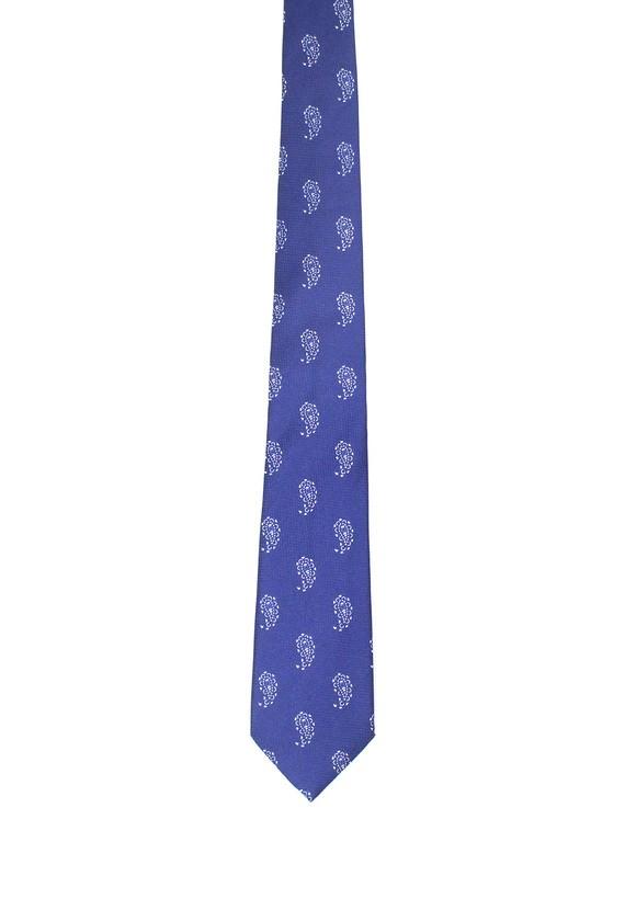 Corbata de seda azul con amebas en blanco