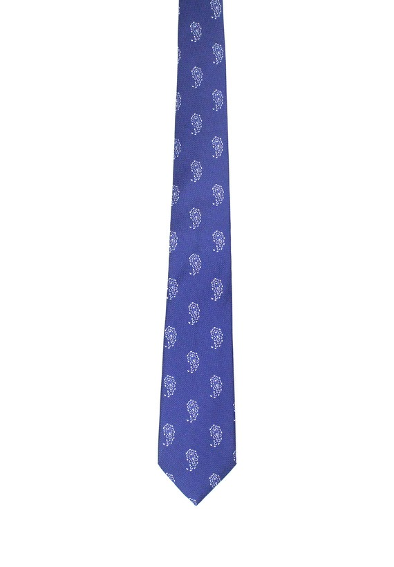 Corbata de seda azul con amebas en blanco - Marino