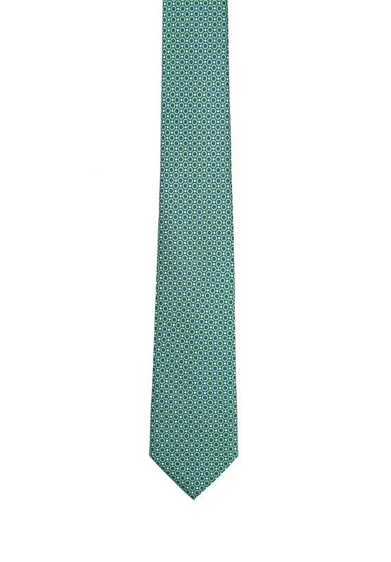 Corbata de seda topos verdes - Verde